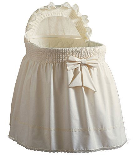 Baby Doll Bedding Neutral Sea Shell Bassinet Bedding for boy and girl, Ecru