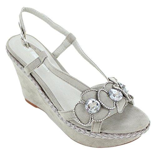 Helen's Heart Grey canvas lady's wedge shoe Grey (Helens Heart)