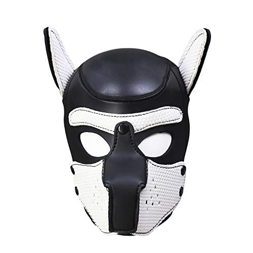 Unisex Funy Wild Animal Mask Rubber Dog Head Masks Toys for Costume Cosplay (Black-White) -