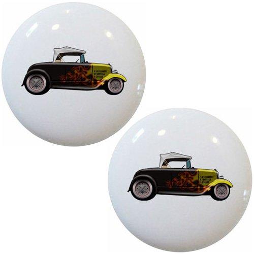Set of 2 Hot Rod Car Yellow Black Convertible Ceramic Cabinet Drawer Pull Knob