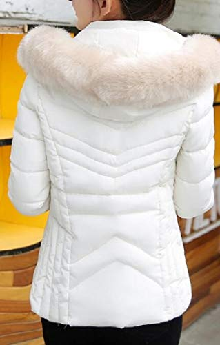 EKU Short Down Women Winter Faux Hoodie Puffer White Coats Warm Trim Jackets Fur 0Sn08gx