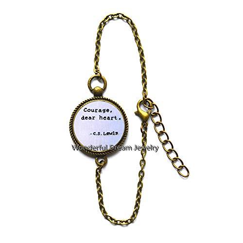 Waozshangu Courage, Dear Heart, Quote Bracelet Colorful Fashion Bracelet Women Glass Dome Jewelry,PU239 -