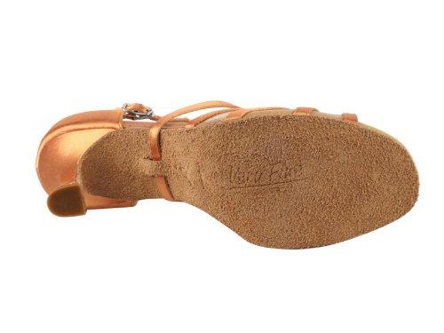 Ladies Women Ballroom Dance Shoes Very Fine EKSA1605 SERA 2.5'' Heel with Heel Protectors (7, Tan Satin & Flesh Mesh) by Very Fine Dance Shoes (Image #6)