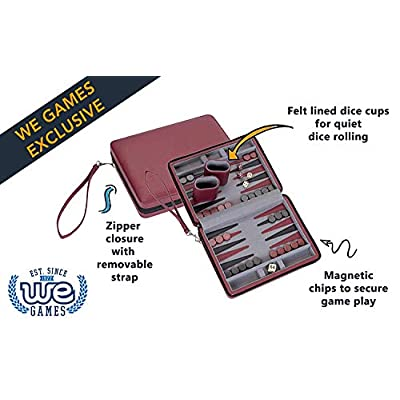 WE Games Burgundy Magnetic Backgammon Set with Carrying Strap - Travel Size: Toys & Games