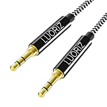 LUORIZ AUX Cable, 3.5mm Auxiliary Audio Cable Nylon Braided Male to Male AUX Cord Compatible Headphones, Car/Home Stereos, iPod, iPhone, iPad, Samsung, Sony, Echo Dot, MP3 Player & More - 1.2M