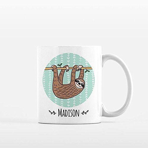 Personalized Mug | Sloth Mug | Custom Name Mug | Personalized Gift for Her for Him | Custom Mug | Sloth Gift | Sloth Lover Gift | Idea Sloth Coffee Mug Sloth Cup