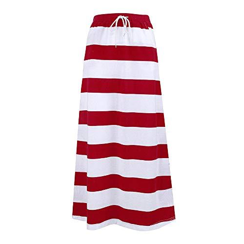 (UOFOCO Stripe Skirt for Womens Maxi Long Skirt Fashion Hight Waist Dress)