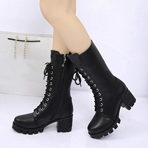 MML Women Ankle Booties Leather Round High Heel Knight Ladies Martin Boots Zip Cowboy Shoes Black 59d5rP7