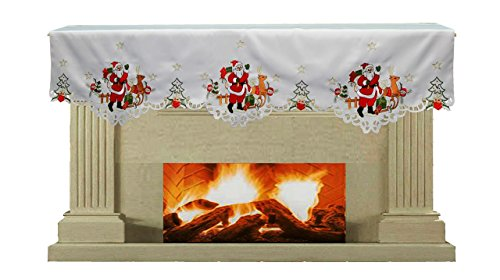 Creative Linens Holiday Christmas Embroidered Santa Reindeer Poinsettia Mantel Scarf 19x70 White
