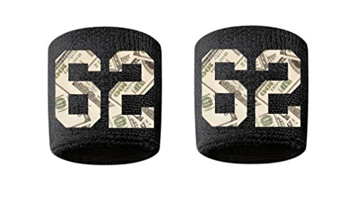 #62 Embroidered/Stitched Sweatband Wristband BLACK Sweat Band w/ MONEY PRINT Number (2 Pack)