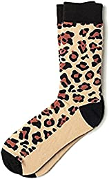Men's Brown Beige Leopard Animal Print Crew Dress Socks