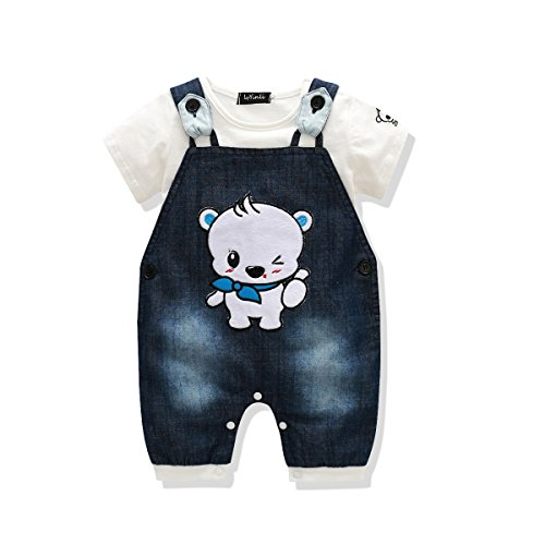 Cute Baby Boys Clothes Toddler Boys' Romper Jumpsuit Overalls Stripe Rompers Sets (0-6 months, Blue 4)