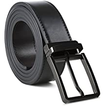 Mark Fred 100% Leather Dress Belt Grade A Genuine Italian Leather Reversible,Black/Brown Strap Black Buckle,XX-Large