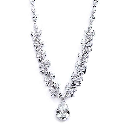 Mariell Exquisite Bridal Cubic Zirconia Statement Necklace with Teardrop for Brides, Pageant, Wedding