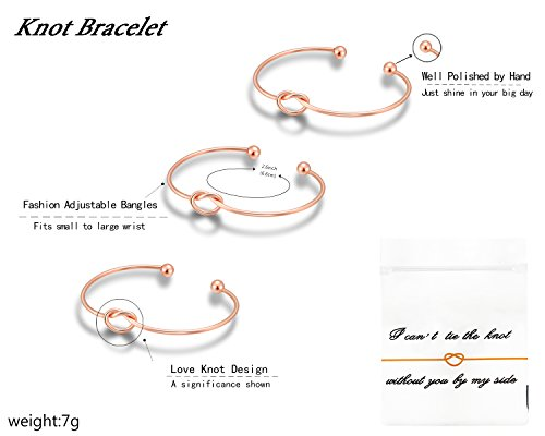 Nymph Code Bridesmaid Gifts Bachelorette Party Supplies - 6 Set Rose Gold Love Knot Bracelets with Bridesmaid Hair Ties,Perfect Bridal Shower Gifts for Bridesmaid by Nymph Code (Image #2)