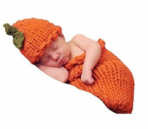 M&G House Fashion Newborn Baby Photo Photography Prop Handmade Crochet Knitted Halloween Pumpkins Outfit Hat Sleeping Bag