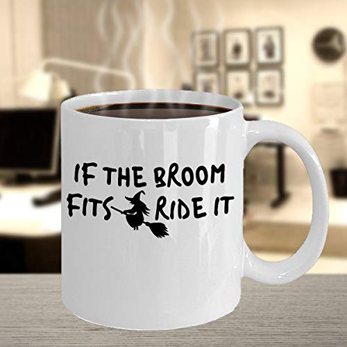 Broom Riding Witch Horror Flying Wizard Witches Halloween Event Spooky Night Printed Coffee Mug Tea Cup Gift Ideas Giveaway]()