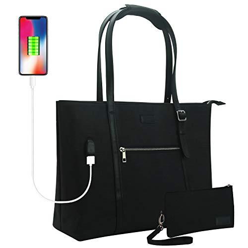 "Laptop Tote Bag, Chomeiu 15.6"" Laptop Purse Teacher Work Bag with USB for Women"