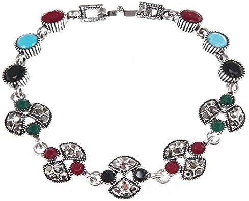HQY Pulsera De Mujer, Nueva Pulsera De Piedras Preciosas De Color Bohemio, Pulsera De Diamantes Viejos Chapados En Plata