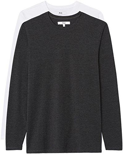 Aderente Lunga Manica A Uomo white Marl T shirt Da 2 Charcoal Multicolore Find Pacco XwqCEt