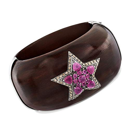 Ross-Simons 7.00 ct. t.w. Pink Sapphire and Ebony Wood Star Bangle Bracelet With Champagne Diamonds in Sterling