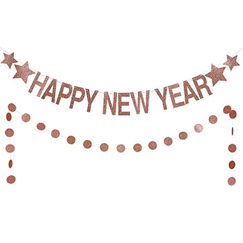 Rose Gold Glittery Happy New Year Banner -2019 New Year Eve Party Decorations- New Year Party Supplies- Gold Glittery Circle Dots -