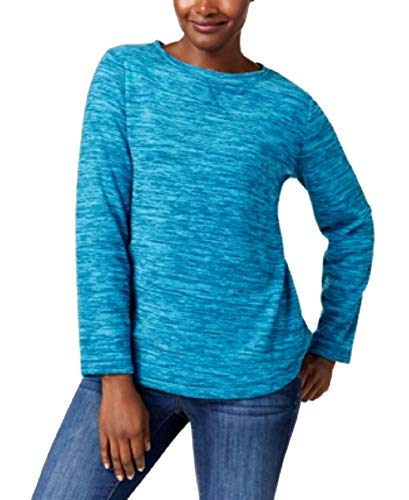 (Karen Scott Fleece Crew-Neck Sweatshirt (True Teal, XXL))