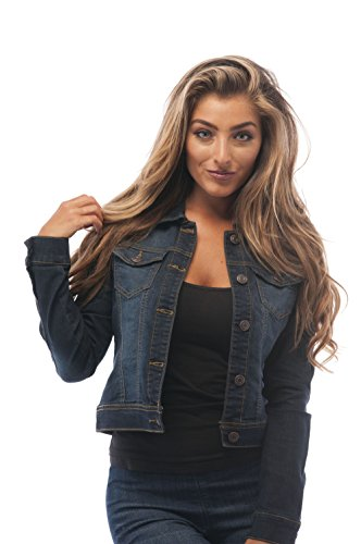 Hollywood Star Fashion Womens Basic Button Down Denim Jean Jacket (1XL, DarkBlue)