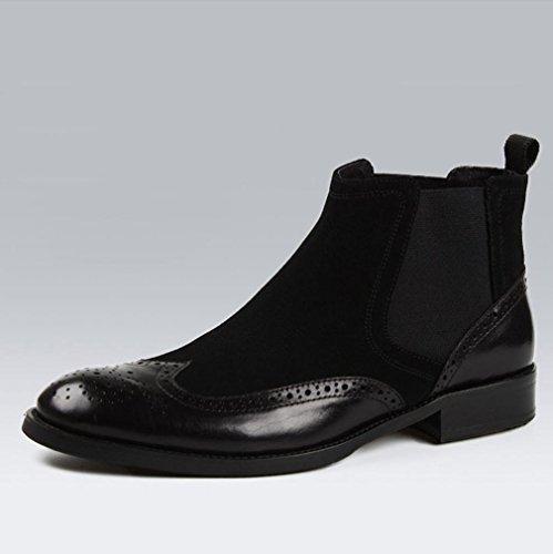 Heart&M helado de negocios informal alta corte redondo del dedo del pie hombres zapatos de cuero de gamuza que botas de Martin Black