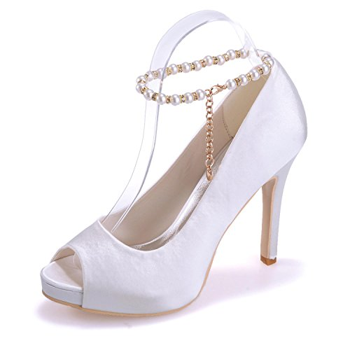 L@YC Tacones altos De Las Mujeres 6041-05 Zapatos De Seda De La Seda Del Peep Toe / Falda De La Novedad / Casual White