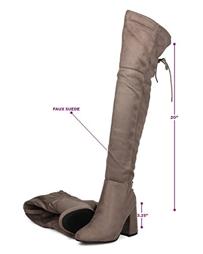 Indulge Bella I Mujeres Hind Lace Up Block Heel Bota - Sobre La Rodilla Chunky Heel - Muslo High Party Elegante Versátil Winter Tall Bota Taupe Faux Suede