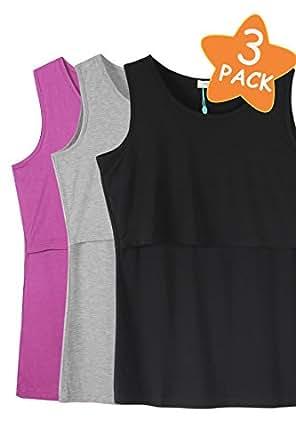 Smallshow Women's 3 Pack Sleeveless Maternity Nursing Tank Tops Small,Fuchsia-Black-Grey