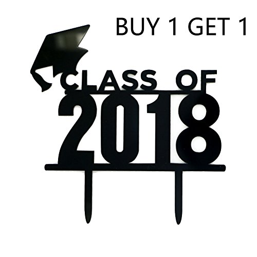 Graduate Cake Topper - Class of 2018 Cake Toppers Qingo Acrylic 2018 Graduation Cake Picks for Graudation Party Decoration--High School Graduation, College Graduate Cake Topper