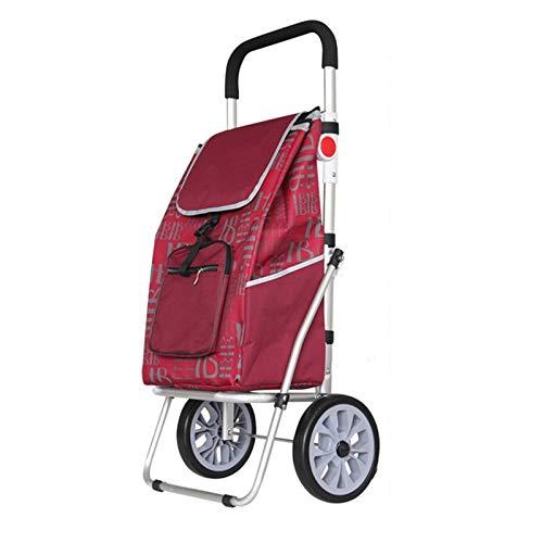 ZHAOHUI ショッピングカート 折り畳み式屋外鋼鉄フレームオックスフォード布ダブルベアリングホイール、100CMハイ、5色 (色 : Red) B07GQ1PW5D Red