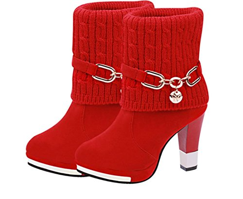 XDGG The new women's boots high-heeled Artificial PU wool boots , red , 41