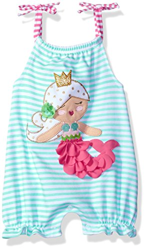 Mud Pie Baby Girls' Bubble Romper, Mermaid, 9-12 Months