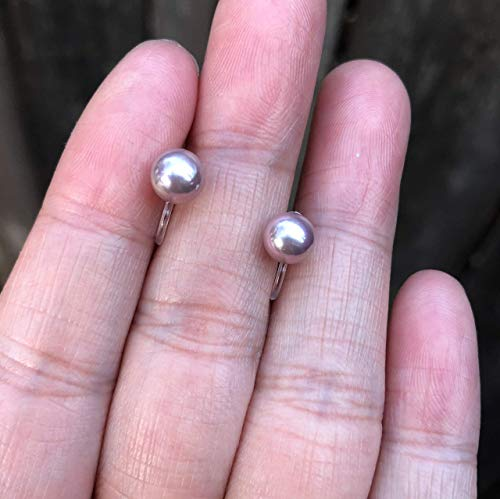 (Invisible Clip On Stud Earrings Purple Shell Pearl for Non Pierced Ears 6mm)