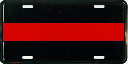 Thin Red Line Metal License Plate – 6x12 inch Black and Red America Auto Tag for Cars and Trucks – Recognize and Support the Courage of Firefighters, Fireman