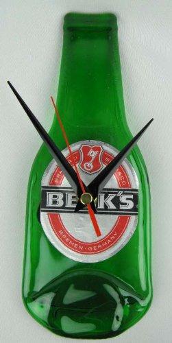 Reloj de pared Becks material reciclado con forma de botella de diseño de reloj de pared