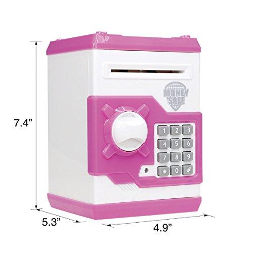 SZAT PRO Pink Electric Electronic Piggy Bank Kids Girls Money Safe Box Jar Coins Cashes Bills Password Key Code ATM Saver Toy