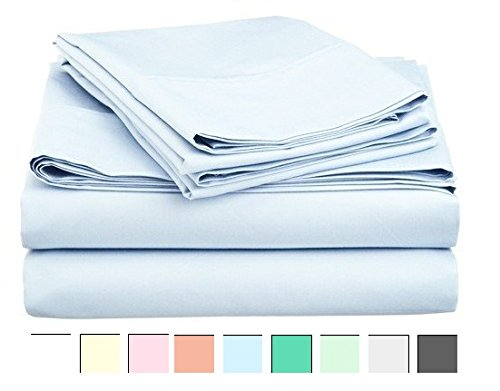 Bed Sheets Set - King Bedding - 800 Thread Count Pure Cotton - 100% Cotton Sheet Set - Sateen Weave -King Sheets -Hypoallergenic -Deep Pocket Sheets - 4 Piece King Sheet Set, India (King, Sky)