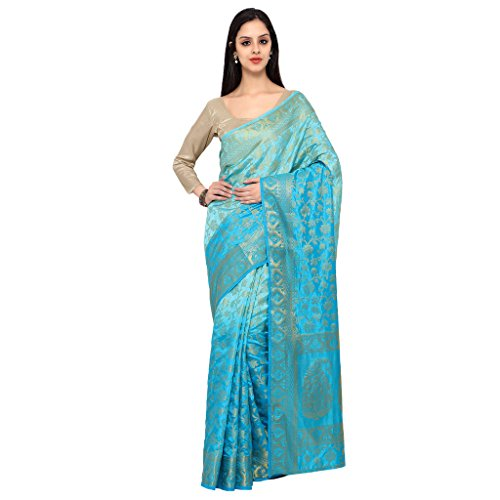 Varkala Silk Sarees Women's Raw Silk Kanchipuram Saree With Blouse Piece_(ND1021LFDF_Turquoise Blue) by Varkala Silk Sarees