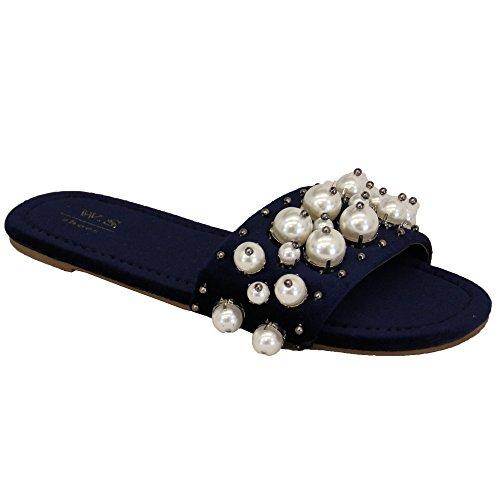 Damen ohne Bügel Schieber Damen Sandalen Veloursleder Hausschuh Perlenkette flach Denim bequem blau - my652