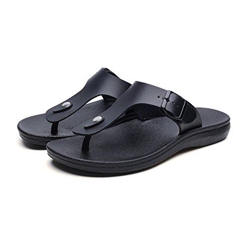Summer De Slippers Hombre On Shoes Black Chanclas Zapatos Beach Slip De Con Cuero GSHE Holgazán HzpBqwFx
