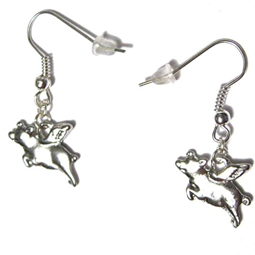 - Flying Pigs Silver Plated Charm French Hook Dangle Earrings Pink Floyd
