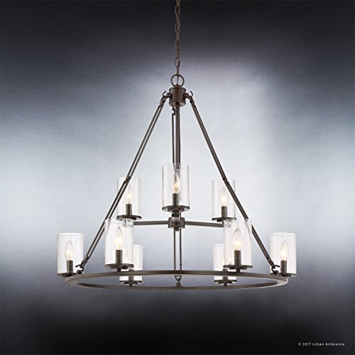 Luxury Industrial Chandelier, Large Size: 30''H x 33''W, with Western Style Elements, Rectangular Link Design, Elegant Estate Bronze Finish and Seeded Glass, UQL2131 by Urban Ambiance by Urban Ambiance (Image #4)