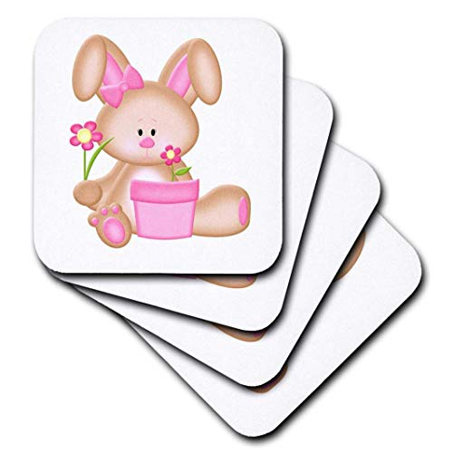 - 3dRose Cute Pink and Brown Bunny Rabbit with Flowers - Soft Coasters, Set of 8 (CST_210712_2)