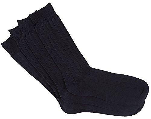 Dockers Men's 4 Pack Dress Wide Rib Crew Socks, Navy, 6-12 Shoe (Dress Sock Rib Classic)