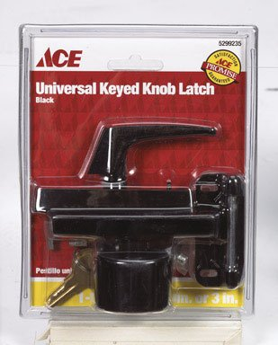 Black Screen/Storm Keyed Knob Latch Universal Keys Ace 01-3815-354 082901143840