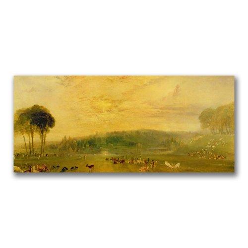 The Lake, Petworth, Fighting Bucks by Joseph Turner, 14x32-Inch Canvas Wall Art ()
